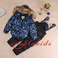 Free shipping!2014 Children's Winter Clothing Set Girl baby Ski Suit Windproof Flower Warm Coats Fur Jackets+Bib Pants+Wool Vest