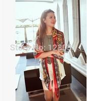 Large air-conditioned square Korea retro cotton scarf shawl dual sun beach towel woman