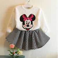 Free Shipping 5sets/ lot Fashion Autumn Mickey Girls Twinset Pullover + Swallow gird Skirt Children Sweatshirt Set