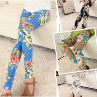 2014 New Fashion Spring Autumn Winter hot sale flower prints legging for women lady Stretch plaid soft confortable  5 colors