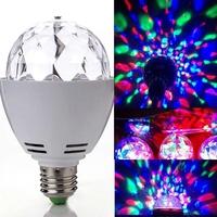 2 pcs/Lot  _ 3W E27 RGB LED Crystal Rotating Bulb Lamp Christmas Party Stage Light