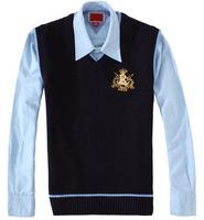 Top Grade Wholesale Men's Classic Polo Sweater Vests Fashion Winter Solid Vest Asian Size M-XXL