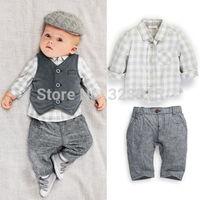 2014 New Newborn baby boy Grey Waistcoat + Pants + Shirts clothes sets Suit 3PCSFree Shipping dropshipping