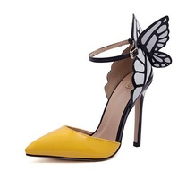 free shipping women's new style European and American high-heeled pointed shoes fantasy butterfly wings sandals pumps f-142