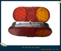 Hot ! 2pcs 12v 3w led trailer tail light lamp stop tail light reflector caravan  trailer lights turn signal lamp