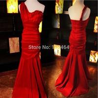 Latest Sexy Lady One Shoulder Taffeta Long Mermaid Dress Vestido Formatura Formal Gown Evening Dress