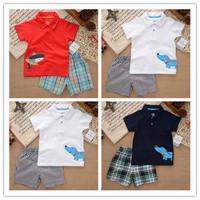 Carters  Baby Clothing Boy's Clothes Child T shirt + Plaid Shorts 2pcs Cotton Conjuntos Baby Boy Clothing Kids Clothes Sets