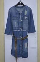 2014 Fall Winter Women New Fashion Europe and American Brand  O Neck Collar Long Sleeve Belt Brief Denim Grinding Dress