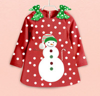 New Design Children Christmas Clothing Girls long Sleeve Merry Christmas Dress Kids  Dot Casual Dress Girls New Year Clothing