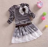 2014 Retail New Arrival Kids Foreign trade children's clothing Korean bud mesh yarn girls striped dress princess dress