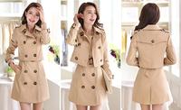 2014 New Fashion Two-piece Ladies Overcoat Women's Warm Autumn Dust Coat Elegant Long Windbreak Slim Outerwear Clothes