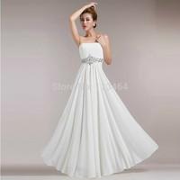 Chiffon Crystal Strapless Elegant Long Ribbon Women Long Evening Dress Korea 2014 Party Evening Dresses