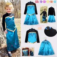 Free shipping!2014 New Hot Summer Elsa Frozen Dress Girls Party Cartoon Printing Frozen Girls Long-Sleeved tshirt + Dress.