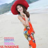2014 New Women Beach Dress Deep V Wrap Chiffon Swimwear Bikini Sexy Cover Up Sarong Beach dresses For  Bohemian Dress 6 color