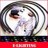 "Free Shipping 4pcs 7 Colors LED Under Car Glow Underbody System Neon Lights Strip Kit  Wireless Remote  36"" X2& 24"" X2"