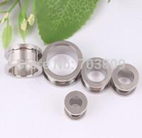 Hot sale Stainless Steel FleshTunnel free shipping Ear Plug Screw Fit Body Piercing Jewelry Ear Expander Barbell Earring