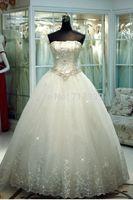 New White Ivory A-line Lace Wedding Dress Sleeveless Strapless Beaded Floor Length Dresses