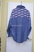 2014 Fall Winter Women Fashion Europe and American Brand  Printed Long Sleeve Denim Top
