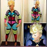 Celebrity multi color block bodycon jumpsuit keyshia sexy club party bodysuit cosplay catsuit playsuit