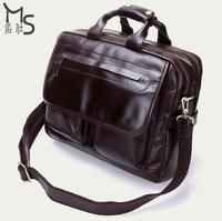2015 New 100% Genuine Leather Men bag High quality Oil wax men handbag vintage Large capacity bag European American style