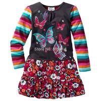 designer brand topolino cute butterfly dress 2014 autumn new girls long-sleeved striped dress flower