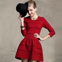 2014 new autumn ladies dress round neck vintage Mini Dress Tutu Dress was thin waist Knit dress