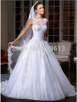 2014 Vestido de noiva Sexy Sleeveless White A Line Wedding Dresses Applique Crystals Bow Floor Legth Backless Bridal Gown