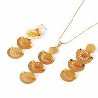 Luxury Chandelier 18k Yellow Gold Filled GF Women Filigree Necklace Earrings Set Free Shipping