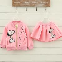 2PC/Set  Zipper Long Sleeves Jacket+Skirt 2014 New Fashion Brand Cartoon Autumn Children Girls Dress Clothes Set  For 3~7Yrs