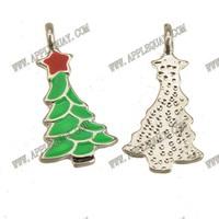 20pcs New DIY Fashion Jewelry Findings 925 Sterling Silver Color Metal Epoxy Enamel Slide Star Christmas Tree Charms 20*10mm