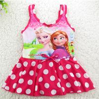 Momo - Child Girl One Piece Frozen Swimwear Princess Elsa & Anna Swimsuit for Girls Kids Rash Guard Children Bathsuit 6-14