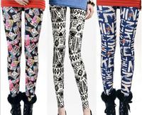 2014 spring models graffiti blue and white houndstooth milk silk elastic nine points leggings