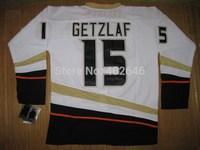 Hockey Anaheim #15 Ryan Getzlaf white jerseys, pls read size chart before order. 100% sewn and stitching