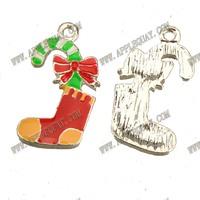 10pcs New DIY Fashion Jewelry Findings And Fittings Silver Metal Epoxy Enamel Christmas Santa Claus Socks Charms 23*12mm