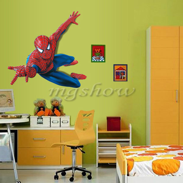 3d spiderman art wall stickers home decals removable kids