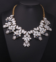 1pc Fashion European clear crystal rhinestone flower drop gen stone chain collar bib choker statement Necklace women colares