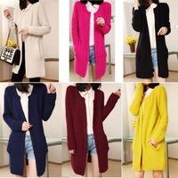 Womens Casual Long Sleeve Cardigan Knit Knitwear Sweater Coat Thick Outwear Tops