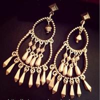 European and American women fashion big metal cone drops tassel pendant earrings female noble