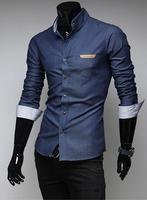 New 2014 Fall Winter Men Shirts british Fashion Pure Color Men Slim lapel Shirt Free Shipping Promotions Dark Blue / Blue