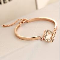 YTSL55 Fashion Elegant Charm Women Clover Crystal Bracelets Bangles Lucky Real Gold Plated Color Keep Bangle Cuff Pulseiras