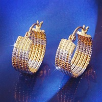 2014 New Arrival Direct Selling Trendy Earrings For Women Brincos Ouro Large 2 Tones 18k Filled Gf 5-tone Hoop Earrings 21mm