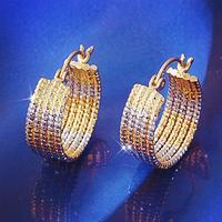 Large 2 Tones 18k White Yellow Gold Filled GF 5-Rings Round Hoop Earrings 21MM