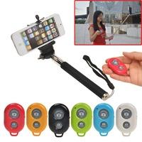 Free shipping Wireless Bluetooth Shutter Key+Selfie Self Portrait Monopod Pole For Iphone 5S 5
