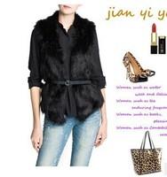 2014 Women New Arrival Winter Fur & Faux Fur Vest Solid Natural Color Sleeveless Belt V-Neck Plus Size Women outwear