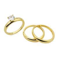 Solitarie Simulated diamonds 1.5CT 3pcs Rings Set Plain 14k Yellow Gold Filled GF Free Shipping