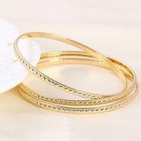 3pcs 18k Gold Filled GF 2 Tones Wave Pattern Wedding Women's Bangle Bracelet Set Free Shipping
