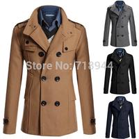 2014 Fashion Europe Stylish Overcoat Top Quality Wholesale Wool Trench Coat warm Winter Jackets Pea coat M,L,XL,XXL