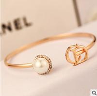 YTSL57 Fashion Delicate Letters Open Cuff Bracelet Pearl Crystal Women Bracelets Bangles Real 18K Gold Plated Bracelet Jewelry