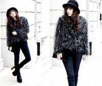 2014 Autumn Winter Fashion Women Peacock Feathers Leather Long Sleeve Faux Fur Coat Overcoat Top Outwear Cardigan Coat Plus Size