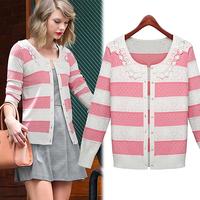 free shipping autuman new arrived 2014  women's knitted striped sweater lace Fashion jackets women big size women coat